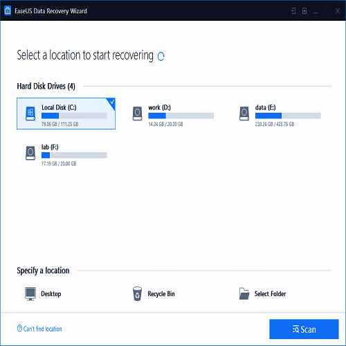 RecoverDeleted Messages through EaseUs Data Recovery Wizard